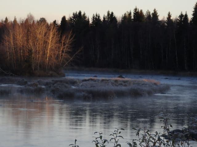 Vorboten des Winters: Nebel und Frost in Haukipudas am Fluss ©Foto: Tarja Prüss   Tarjas Blog - Alles über Finnland