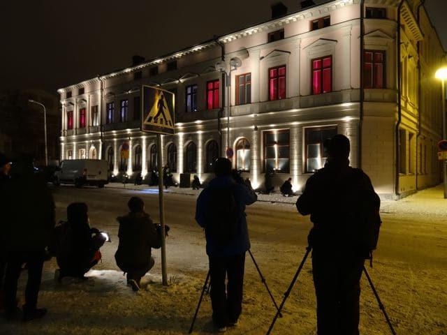 Guerilla Lighting - beleuchtetes Haus in Oulu Finnland (copyright: Tarja Prüss)