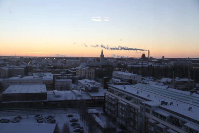 Blick vom Tietomaa auf Oulu