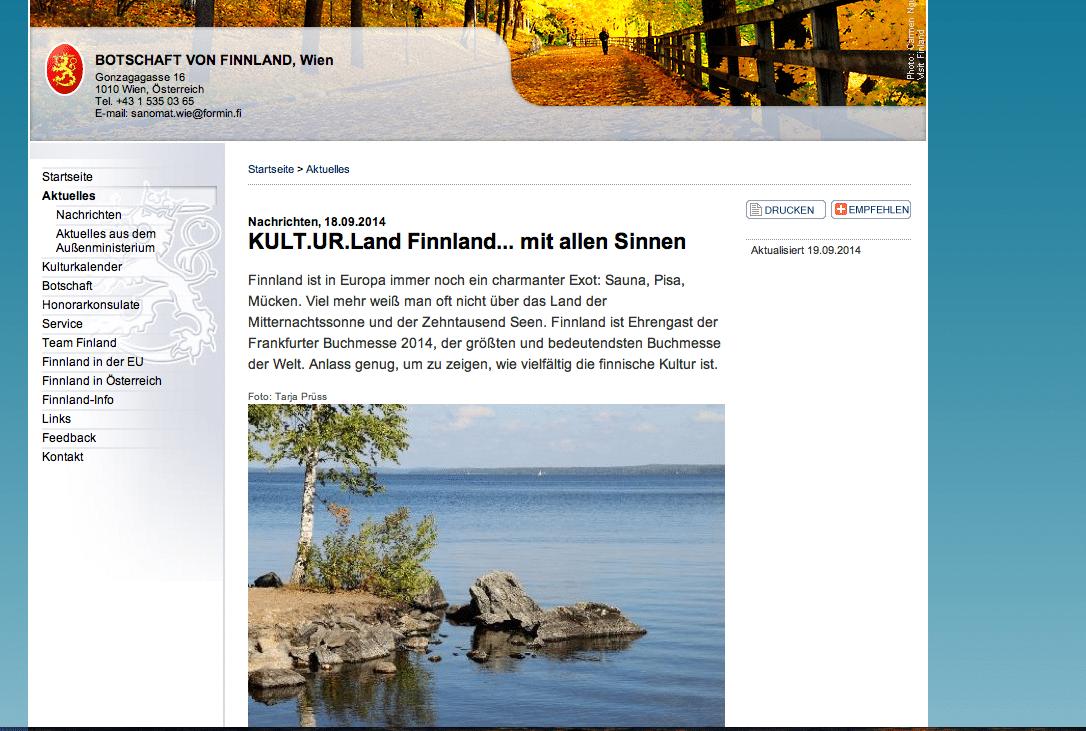 Ausschnitt der Homepage