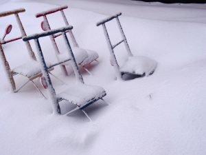 Tretschlitten im Schnee. Winter in  Lappland © Tarja Prüss | Tarjas Blog - Alles über Finnland