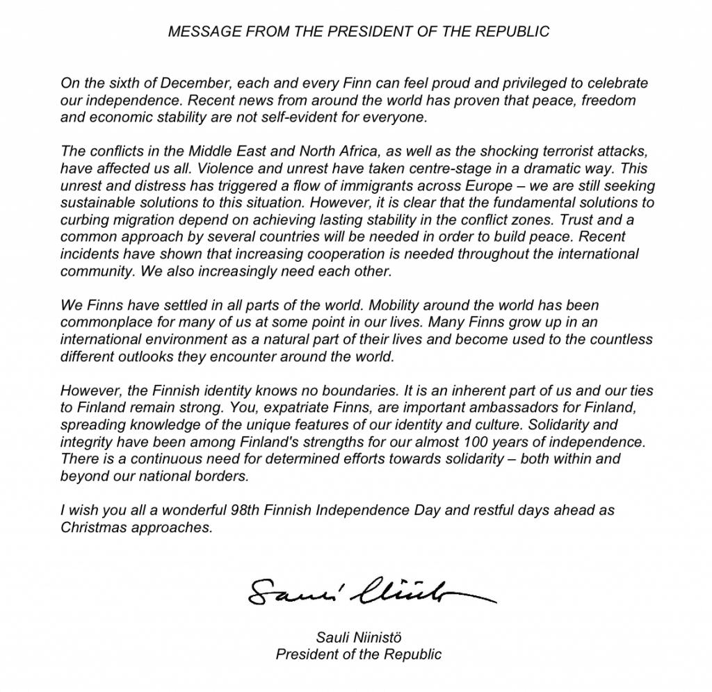 Grußwort des finnischen Präsidenten