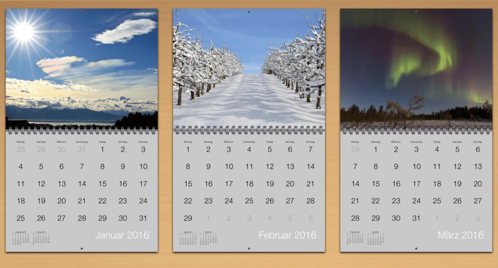 Ausschnitt Kalender 2016