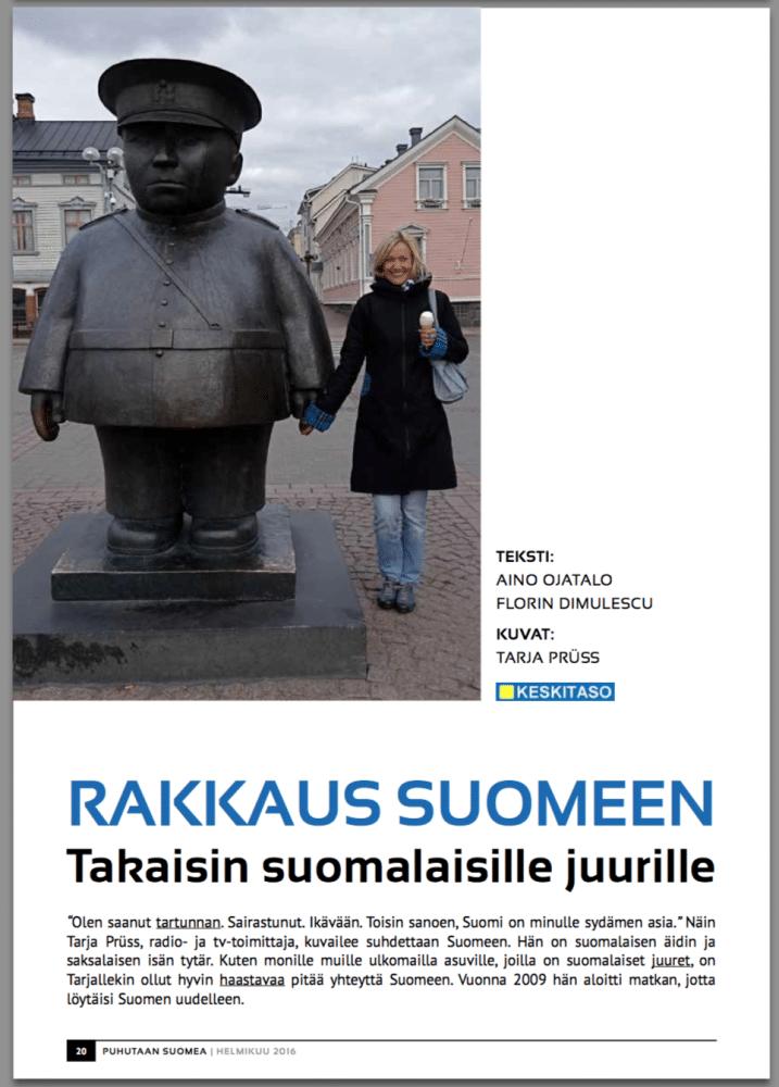 Artikel über Tarja Prüss in puhutaan suomea
