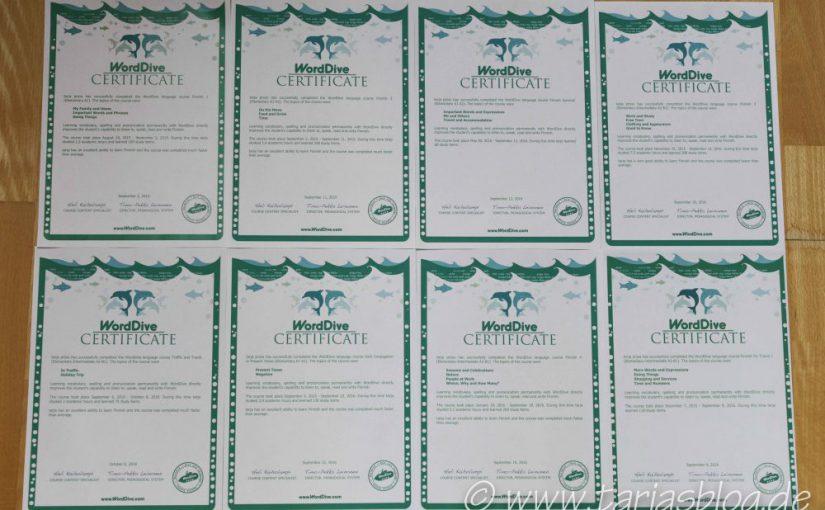 Finnische Sprache lernen: Zertifikate von WordDive (©Tarja Prüss)