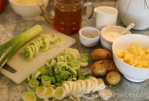 Finnische Küche: Zutaten für Hackfleisch-Lauch-Suppe (© Tarja Prüss)