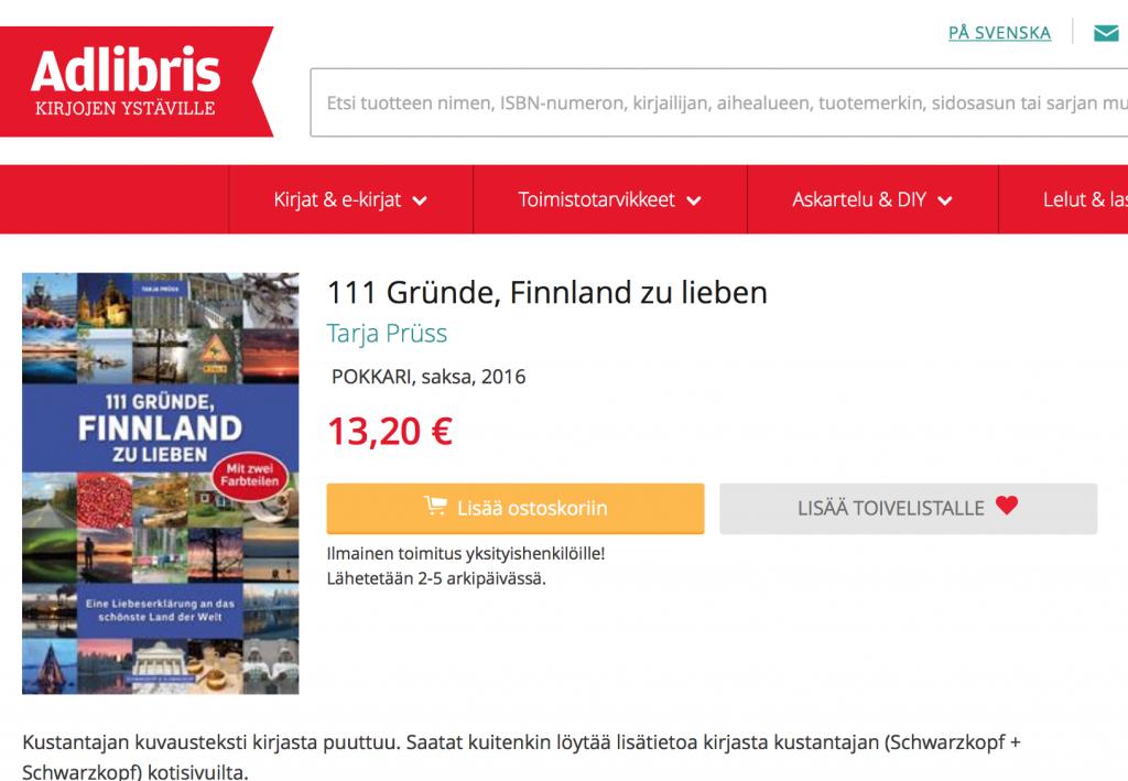 """Anzeige Buch """"111 Gründe, Finnland zu lieben"""" bei Adlibris"""