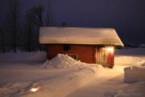 Savu Sauna am Ylläsjärvi - aufgenommen in Lappland Finnland © Foto: Tarja Prüss