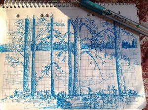 Zeichnung Finnland: Skizze: Aussicht auf See und Bäume - Finnland 2017 ©Tarja Prüss | tarjasblog.de