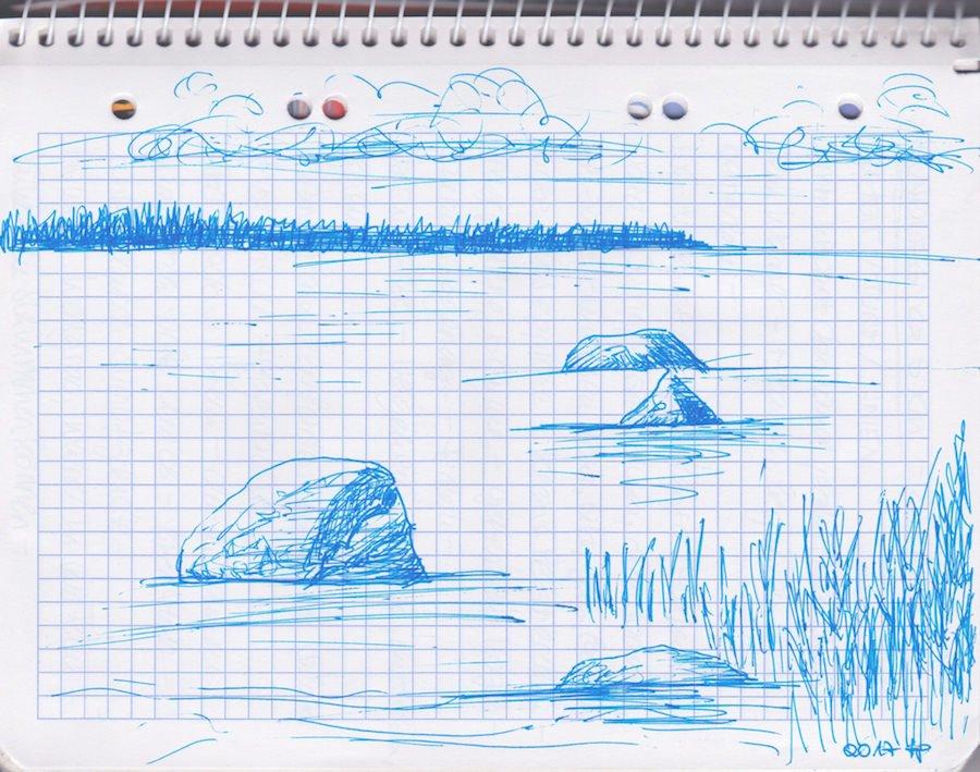 Skizze: Meer mit Ufer und Steinen - Kvarken Finnland 2017 ©Tarja Prüss | tarjasblog.de