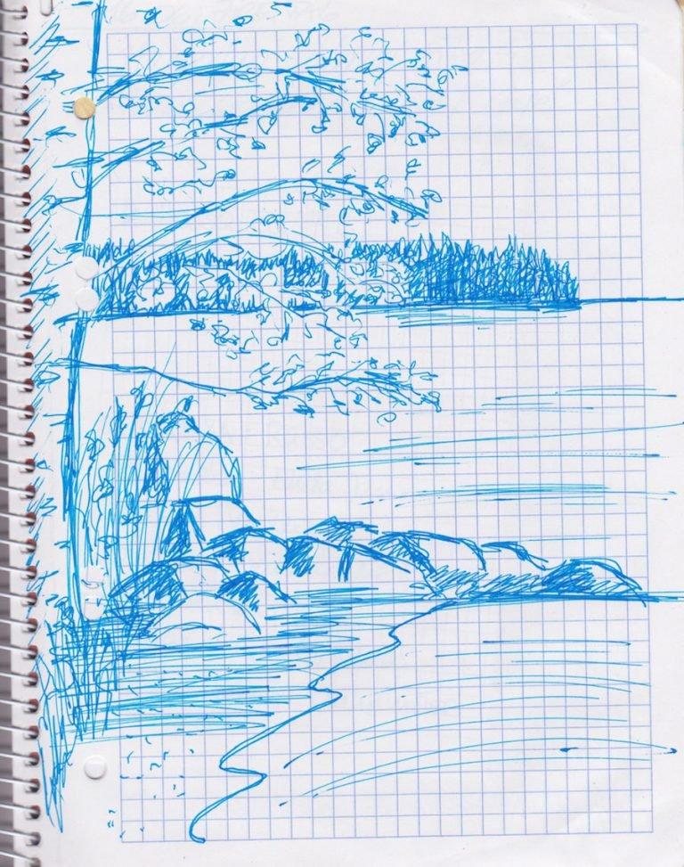 Skizze: See mit Ufer und Baum ©Tarja Prüss | tarjasblog.de