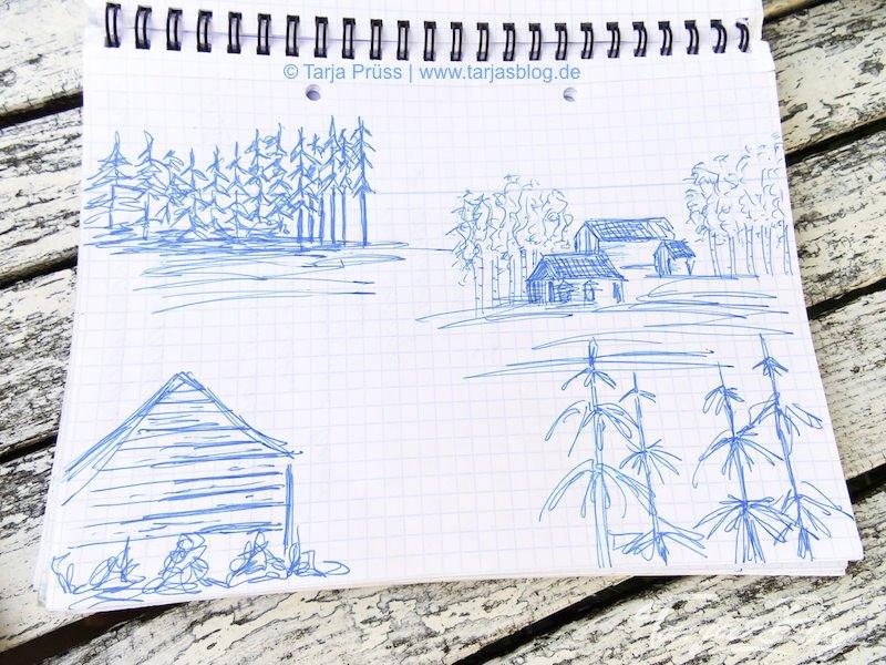Zeichnungen Finnland: Skizze: Häuser und Bäume- Finnland 2017 ©Tarja Prüss | tarjasblog.de