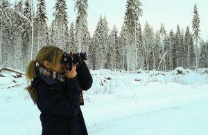 Winter in Karelien: Tarja Prüss mit der Kamera ©Foto: privat