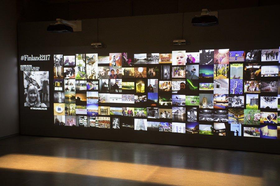 Das versteckte Finnland - Buchtitelfoto: Kinderarbeit - Ausstellung im Kansallismuseo Helsinki. Videowand #Finland2117.