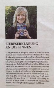 Rezension zum Buch 111 Gründe Finnland zu lieben - in der österreichischen Straßenzeitung Marie 10/2016