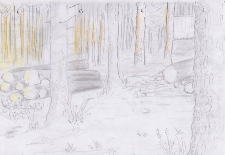 skizze mit Papier und Stift: Wald in Haukipudas Finnland ©Tarja Prüss | Tarjas Blog - Alles über Finnland
