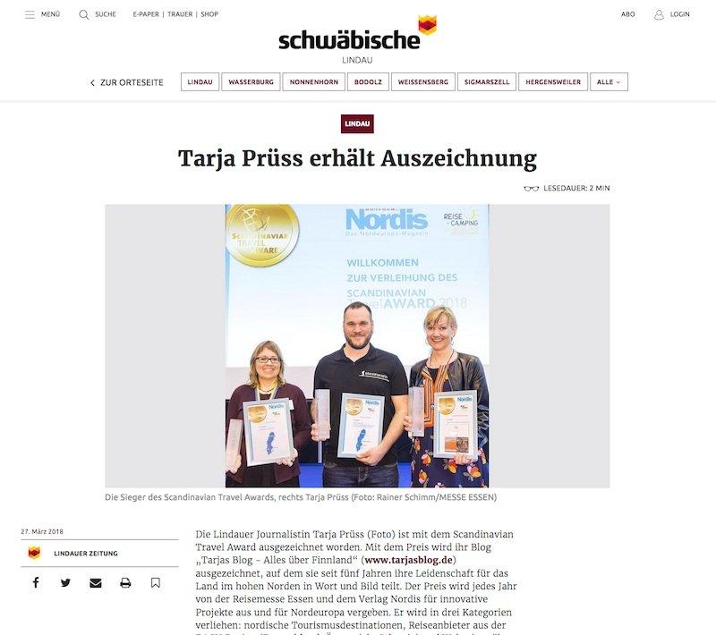 Lindauer Zeitung berichtet: Tarja Prüss erhält Auszeichnung - Artikel vom 27.03.2018 ©schwaebische zeitung