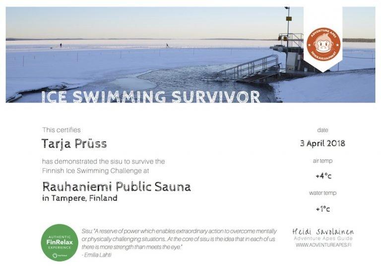Tarja Pruss Ice Swimming Certificate Kopie