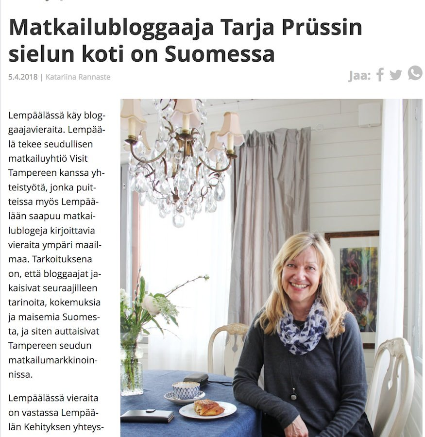 Artikel über Journalistin Tarja Prüss in: Lempäälän vesilahden sanomat - April 2018 ©Screenshot des Internetartikels