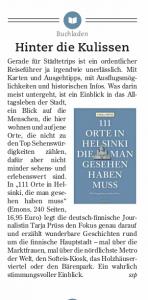 """Rezension zu """"111 Orte in Helsinki, die man gesehen haben muss"""" in der Heilbronner Stimme"""