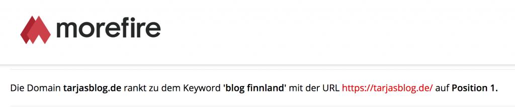 Tarjas Blog rankt auf Platz 1